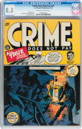 Golden Age (1938-1955):Crime, Crime Does Not Pay #27 (Lev Gleason, 1943) CGC VF+ 8.5 Off-white to white pages....
