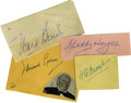 Movie/TV Memorabilia:Autographs and Signed Items, Character Actors Autographs. What a diversity! Four excellentvintage signed album pages from four wildly different players...(Total: 4 )