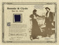 """Movie/TV Memorabilia:Memorabilia, Clyde Barrow Swatch of Pants. """"Some day they'll go down together,and they'll bury them side by side - To few it'll be grief..."""