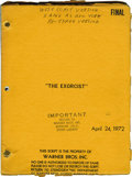 "Movie/TV Memorabilia:Memorabilia, ""The Exorcist"" Script. A ""West Coast Version"" of the final draft ofthe screenplay, dated April 24, 1972, in Very Fine cond..."