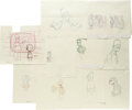 "Movie/TV Memorabilia:Memorabilia, Simpsons Production Sketches Group. A set of ten productionsketches, each in pencil on paper, from various ""Simpsons"" epis..."