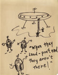 Movie/TV Memorabilia:Original Art, Red Skelton Original Drawing. Drawn by Skelton in black marker onheavy paper, featuring a flying saucer, aliens, and the i...