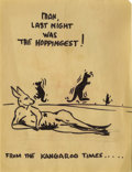 "Movie/TV Memorabilia:Memorabilia, Red Skelton Kangaroo Drawing. A cartoon sketch of bouncingkangaroos by comedian Red Skelton, with the captions ""Man, last ..."
