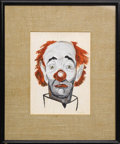 Music Memorabilia:Autographs and Signed Items, Frank Sinatra Clown Oil Painting. An avid and skilled, painter,Frank Sinatra produced numerous accomplished artworks during...