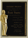 """Music Memorabilia:Awards, Frank Sinatra Tribute Plaque. This handsome plaque from Caesar'sPalace served as an invite for an unknown guest """"to a lovin..."""