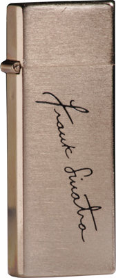 Frank Sinatra Engraved Cigarette Lighter. A rare and very desirable collector's piece, this small Barlow brand Zippo-sty...