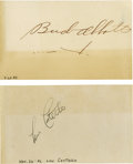 "Movie/TV Memorabilia:Autographs and Signed Items, Bud Abbott and Lou Costello Signed Notecards. Two 3"" x 5""notecards, one signed by Abbott and the other by Costello. Botha..."