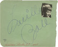 Movie/TV Memorabilia:Autographs and Signed Items, Lucille Ball Autograph. Autograph album page signed by thelegendary comedienne in blue ink, in Excellent condition withsli...