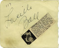 Movie/TV Memorabilia:Autographs and Signed Items, Lucille Ball Autograph. Autograph book page with a big, boldsignature by the comedienne in black ink, in Excellent conditio...
