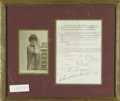 Hollywood Memorabilia:Autographs and Signed Items, Sarah Bernhardt Signed Letter With Photograph. Primarily known for her theatrical work, French actress Sarah Bernhardt also ...