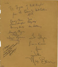 """Movie/TV Memorabilia:Autographs and Signed Items, """"Beverly Hillbillies"""" Autographs. Here's something sure to makecollectors' of TV memorabilia drool: this 8.5"""" x 11"""" autogr..."""