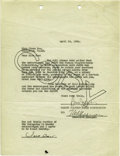 Movie/TV Memorabilia:Autographs and Signed Items, Clara Bow and Sam Jaffe Signed Contract. A single-page contract,dated April 12, 1926, signed in black ink by Famous Players...