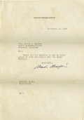 Movie/TV Memorabilia:Autographs and Signed Items, Charlie Chaplin Signed Letter. Typed on personal stationery anddated November 17, 1937, the letter is addressed to Oklahoma...