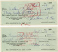Movie/TV Memorabilia:Autographs and Signed Items, Wally Cox Signed Checks. Two personal checks, one dated February 6,1968, and the other dated March 27, 1968, signed by act...