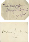 Movie/TV Memorabilia:Autographs and Signed Items, Douglas Fairbanks and Mary Pickford Signatures Set. The originalcelebrity power couple, Douglas Fairbanks and Mary Pickford...(Total: 2 )