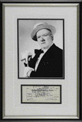 Movie/TV Memorabilia:Autographs and Signed Items, W. C. Fields Signed Check With Photograph. A check filled out and signed by the comedian, payable to Wm. Murphy for $69.52, ...