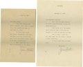 Movie/TV Memorabilia:Autographs and Signed Items, Jean Harlow Typed Letters Signed by Mama Jean. Two typed letters -- one on a folded sheet of paper, the other on personal s...