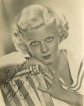 "Movie/TV Memorabilia:Autographs and Signed Items, Jean Harlow Photo Signed by Mama Jean. This 7"" x 9"" b&w photo,a gorgeous closeup of cinema's first blonde bombshell, is in..."