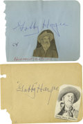 Movie/TV Memorabilia:Autographs and Signed Items, Gabby Hayes Autographs. Two autograph book pages signed by theperennial Western sidekick in blue ink, both in Excellent con...