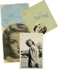 Movie/TV Memorabilia:Autographs and Signed Items, Hollywood Beauties Lot. The album page autographs of three beautiful and immensely talented ladies. The alluring lot contain... (Total: 3 )