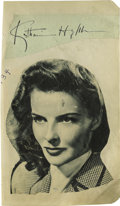 "Movie/TV Memorabilia:Autographs and Signed Items, Katharine Hepburn Autograph. This 5"" x 8.5"" sheet of paper has asignature cut of Hepburn's autograph in black ink affixed t..."
