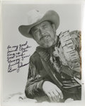 "Movie/TV Memorabilia:Autographs and Signed Items, Ben Johnson Signed Contract and Photo. Includes a six-page ArtistLoanout Agreement for the movie ""Let's Get Harry,"" dated ..."