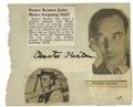 Movie/TV Memorabilia:Autographs and Signed Items, Buster Keaton Autograph. Autograph book page signed by thesilent-era legend in black ink, in Excellent condition with tear...
