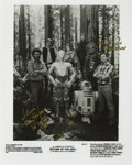 """Movie/TV Memorabilia:Autographs and Signed Items, George Lucas and Peter Mayhew Signed Photo. This 8"""" x 10"""" b&wcast photo from """"Return of the Jedi"""" is inscribed """"Steve - Ma..."""