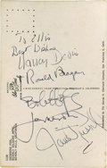 "Movie/TV Memorabilia:Autographs and Signed Items, Postcard Signed by Ronald Reagan, Nancy Davis, and Others. This3.5"" x 5.5"" postcard features a photo of the Beverly Wilshi..."