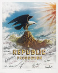 "Movie/TV Memorabilia:Autographs and Signed Items, Stars of Republic Pictures Signed Poster (1977). A 24"" x 30""lithograph of the Republic eagle logo, signed by Rex Allen, Yak..."
