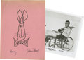 "Movie/TV Memorabilia:Autographs and Signed Items, James Stewart ""Harvey"" Sketch and Autograph. This pink sheet ofconstruction paper bears a rabbit doodle labelled ""Harvey"" ..."