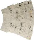 "Movie/TV Memorabilia:Autographs and Signed Items, Great Cartoonists Signed Notecards Group. An impressive set of 3"" x5"" notecards, collected during the 1940s, features sign..."