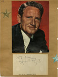 "Movie/TV Memorabilia:Autographs and Signed Items, Spencer Tracy Signed Notecard. A 3"" x 5"" notecard signed by SpencerTracy in black ink, affixed to an album page under a pho..."