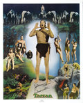 Movie/TV Memorabilia:Autographs and Signed Items, Johnny Weissmuller Autographed Lithographic Poster (Nostalgia Merchant, 1977). Olympic swimmer and movie star Johnny Weissm...