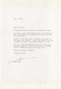 """Movie/TV Memorabilia:Autographs and Signed Items, Adam West Signed Letter to Vincent Price. Here's a nifty littleitem, written by the """"Batman"""" actor to one of his onscreen ..."""