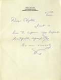 "Movie/TV Memorabilia:Autographs and Signed Items, Fred Astaire Sends Clifton Webb Condolences on the death of hismother in this one page Autograph Note Signed ""Fred"", on..."