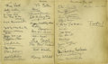 """Movie/TV Memorabilia:Autographs and Signed Items, Two Pages from Webb's Celebrity-Studded Guest Books. """"Christmas Eve1936"""" contains the signatures of such theatre greats as ... (Total:2 )"""