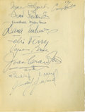 Movie/TV Memorabilia:Autographs and Signed Items, Clifton Webb Autograph Collection. An incredible two-sided page ofsignatures from the guest book of Clifton Webb and his mo...