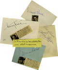 Movie/TV Memorabilia:Autographs and Signed Items, Horror Actors Autograph Lot. Five crisp album page signatures of four gentlemen and one lady with horror film celebrity/noto... (Total: 5 )