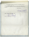 Movie/TV Memorabilia:Autographs and Signed Items, Boris Karloff Signed Contract. Rare contract signed by horror king Boris Karloff (1887-1969) for a proposed publication Bo...