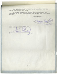 Boris Karloff Signed Contract. Rare contract signed by horror king Boris Karloff (1887-1969) for a proposed publication...