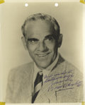 """Movie/TV Memorabilia:Autographs and Signed Items, Boris Karloff Signed Photo. A very nice 8"""" x 10"""" b&w photoinscribed """"Best Wishes to Mattawa High"""" and signed by the horror..."""