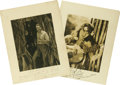 Movie/TV Memorabilia:Autographs and Signed Items, Autographs of Lloyd Hughes and Virginia Brown Faire from The Lost World . Even in 1925, a movie thriller such as The Lost ... (Total: 2 )