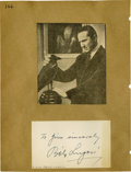 """Movie/TV Memorabilia:Autographs and Signed Items, Bela Lugosi Signed Notecard. This 3"""" x 5"""" notecard is signed inblack ink by Bela Lugosi, one of the of the giants of early..."""