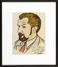 Movie/TV Memorabilia:Autographs and Signed Items, Vincent Price and Vincent Sardi Autographed Sketch. This colorsketch of actor Vincent Price, one of the hundreds of carica...