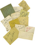Music Memorabilia:Autographs and Signed Items, Big Band Autograph Lot. Included are signatures from Count Basie,Glen Miller, Peg Leg Bates, Buddy Rich, Pearl White, Hal ...
