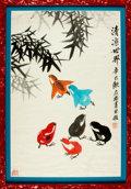Books:Original Art, [Original Art]. Signed Chinese Watercolor Painting of Multi-Colored Chicks Playing in Bamboo with Calligraphy. Undated. ...