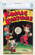 Golden Age (1938-1955):Funny Animal, Komic Kartoons #1 (Timely, 1945) CBCS VF- 7.5 Off-white to whitepages....