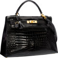 "Luxury Accessories:Bags, Hermes 32cm Shiny Black Porosus Crocodile Sellier Kelly Bag withGold Hardware. Very Good Condition . 12.5"" Width x9""..."