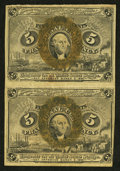 Fractional Currency:Second Issue, Fr. 1232 5¢ Second Issue Vertical Pair Extremely Fine.. ...